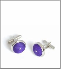 Silver Cufflinks with Purple Silk Lining (C449)