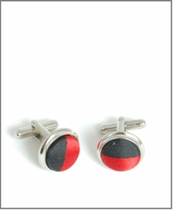 Silver Cufflinks with Red and Black Silk Lining (C410)