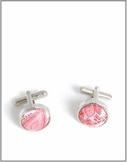 Silver Cufflinks with Red Patterned Silk Lining (C338)