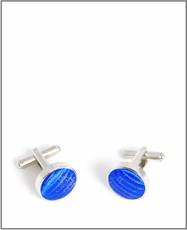 Silver Cufflinks with Royal Blue Silk Lining (C349)