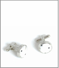 Silver Cufflinks with White and Black Silk Lining (C423)
