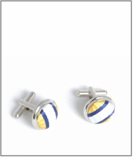 Silver Cufflinks with Yellow, White and Blue Silk Lining (C254)