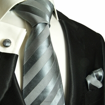 Silver Gray Paul Malone Silk Necktie Set (811CH)