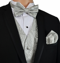 Silver Paisley Vest and Bow Tie Set by Paul Malone