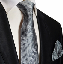Silver Silk Necktie and Pocket Square . Paul Malone