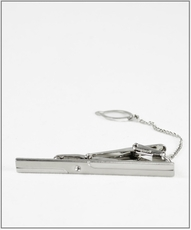 Silver Tie Bar and Chain