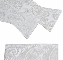 Silver White Paisley Paul Malone Bow Tie and Pocket Square . 100% Silk (BT993H)
