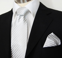 Silver-White Paul Malone Silk Necktie & Pocket Square (927H)