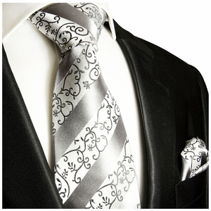 Silver, White Silk Tie and Pocket Square by Paul Malone