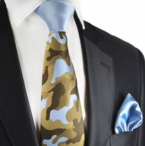 Sky Blue and Brown Contast Knot Tie by Paul Malone