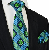 Sky Blue and Green Steven Land Silk Tie and Pocket Square Set