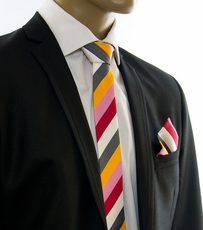 SLIM Silk Tie and Pocket Square Set by Paul Malone (Slim242H)