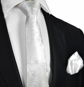 Slim White Men's Wedding Tie and Pocket Square