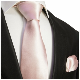 Soft Pink Necktie and Pocket Square Set