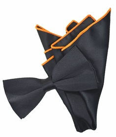 Solid Black Bow Tie with Orange Tipped Pocket Square
