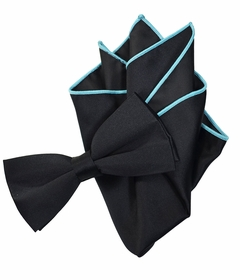Solid Black Bow Tie with Turquoise Trim Pocket Square