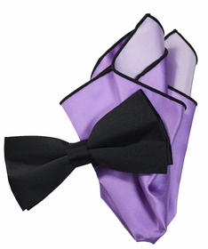 Solid Black Bow Tie with Violet Trim Pocket Square