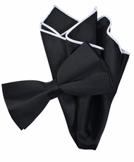 Solid Black Bow Tie with White Trim Pocket Square
