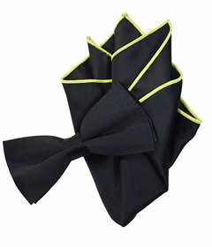 Solid Black Bow Tie with Yellow Trim Pocket Square