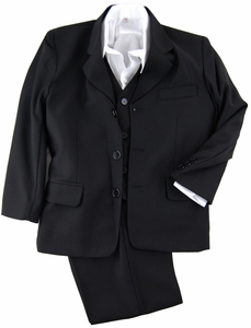Solid Black Boys Suit with Vest and Dress Shirt (KA80)