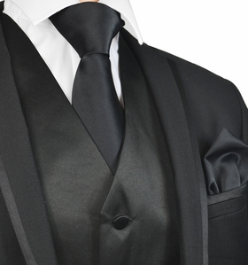 Solid Black Mens Tuxedo Vest, Tie and Pocket Square