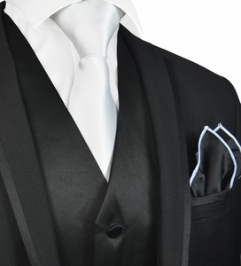Solid Black Mens Tuxedo Vest, Tie and Trim Pocket Square
