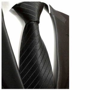 Solid Black Paul Malone Silk Tie (475)