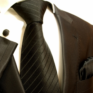 Solid Black Paul Malone Silk Tie Set (475CH)
