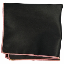 Solid Black Pocket Square with Pink Rolled Border