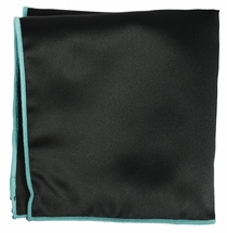 Solid Black Pocket Square with Turquoise Rolled Border