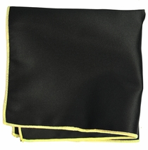 Solid Black Pocket Square with Yellow Border