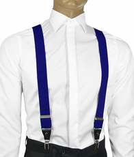 Solid Blue Men's Suspenders