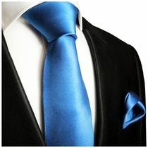 Solid Blue Necktie and Pocket Square (Q100-I)