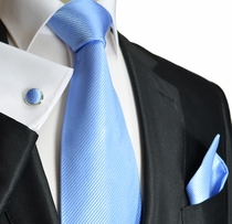 Solid Blue Paul Malone Silk Necktie and Accessories (901CH)