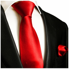 Solid Bright Red Necktie and Pocket Square (Q100-O)