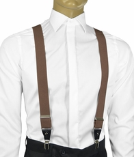 Solid Brown Men's Suspenders