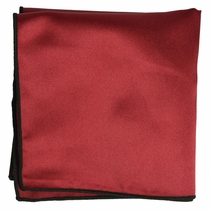 Solid Burgundy Pocket Square with Black Rolled Border