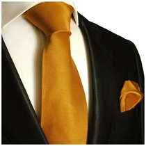 Solid Cadmium Orange Necktie and Pocket Square Set (Q100-C)