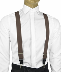 Solid Dark Brown Men's Suspenders