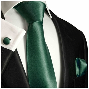 Solid Dark Green Silk Tie Set by Paul Malone
