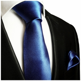 Solid Dark Navy Blue Necktie and Pocket Square (Q100-G)