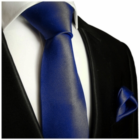 Solid Dark Navy Tie and Pocket Square Set