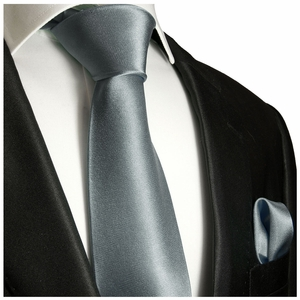 Solid Dark Silver Tie and Pocket Square Set