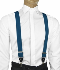 Solid Dragonfly Blue Men's Suspenders