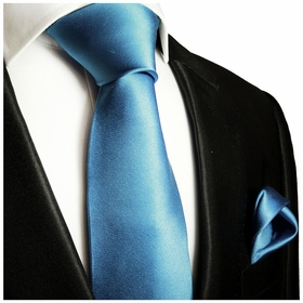Solid Glaucous Blue Necktie and Pocket Square