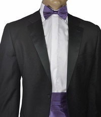 Solid Grape Royal Silk Cummerbund and Bow Tie Set