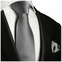 Solid Gray Necktie and Pocket Square (Q100-L)