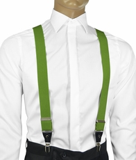 Solid Green Men's Suspenders