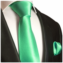 Solid Green Necktie and Pocket Square Set (Q100-Z)