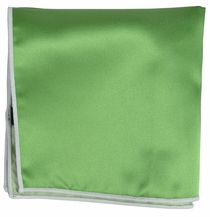 Solid Green Pocket Square with White Border